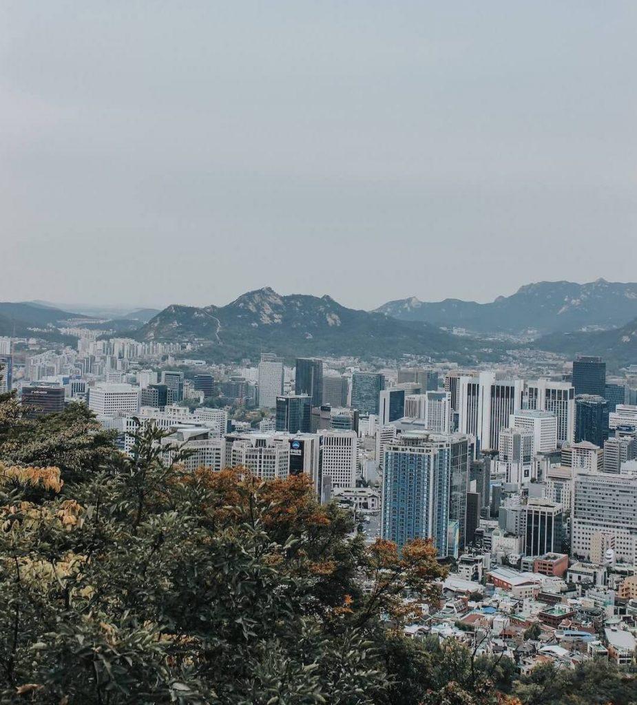 Seoul cityscape near the mountains