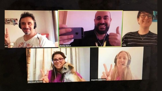 group of students with teacher on a video chat class