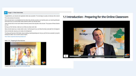 Videos in the Teaching English Online Course