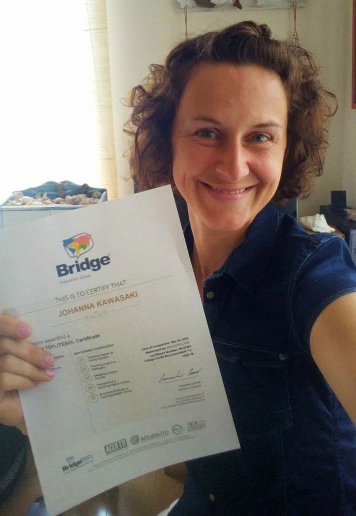 Johanna, an online and classroom-based English teacher in Japan, with her TEFL/TESOL certificate