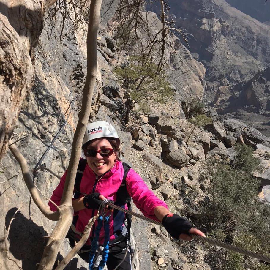 Erin hiking in Oman