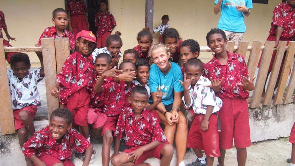 Allie with some kids in Nicaragua
