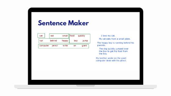 Sentence Maker Game for Teaching English Online