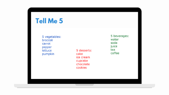 Tell Me 5 Game for Teaching English Online