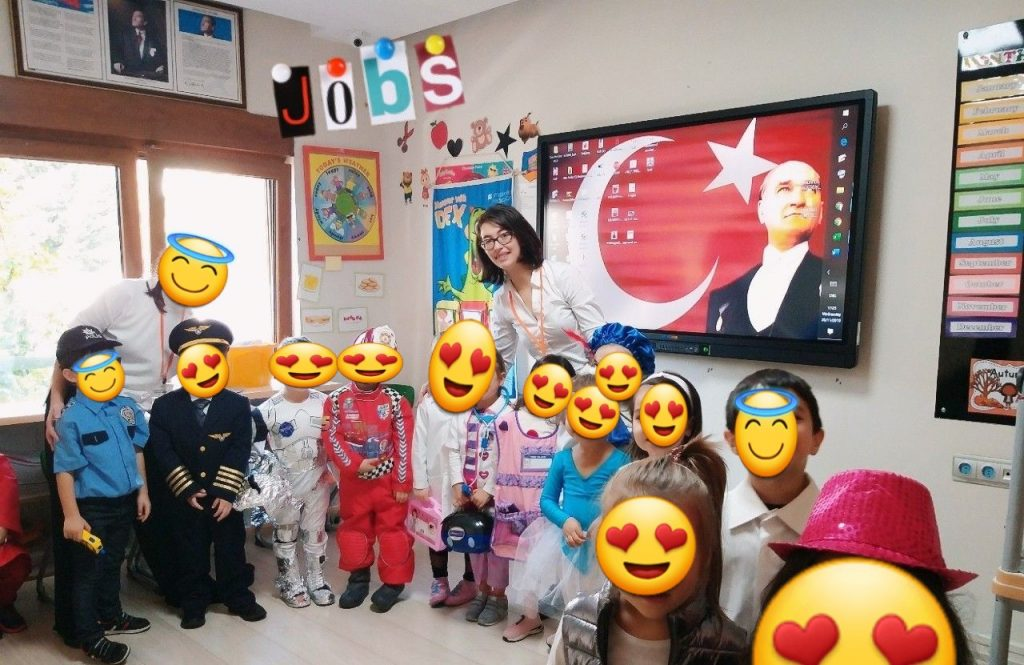 Asma with her nursery students
