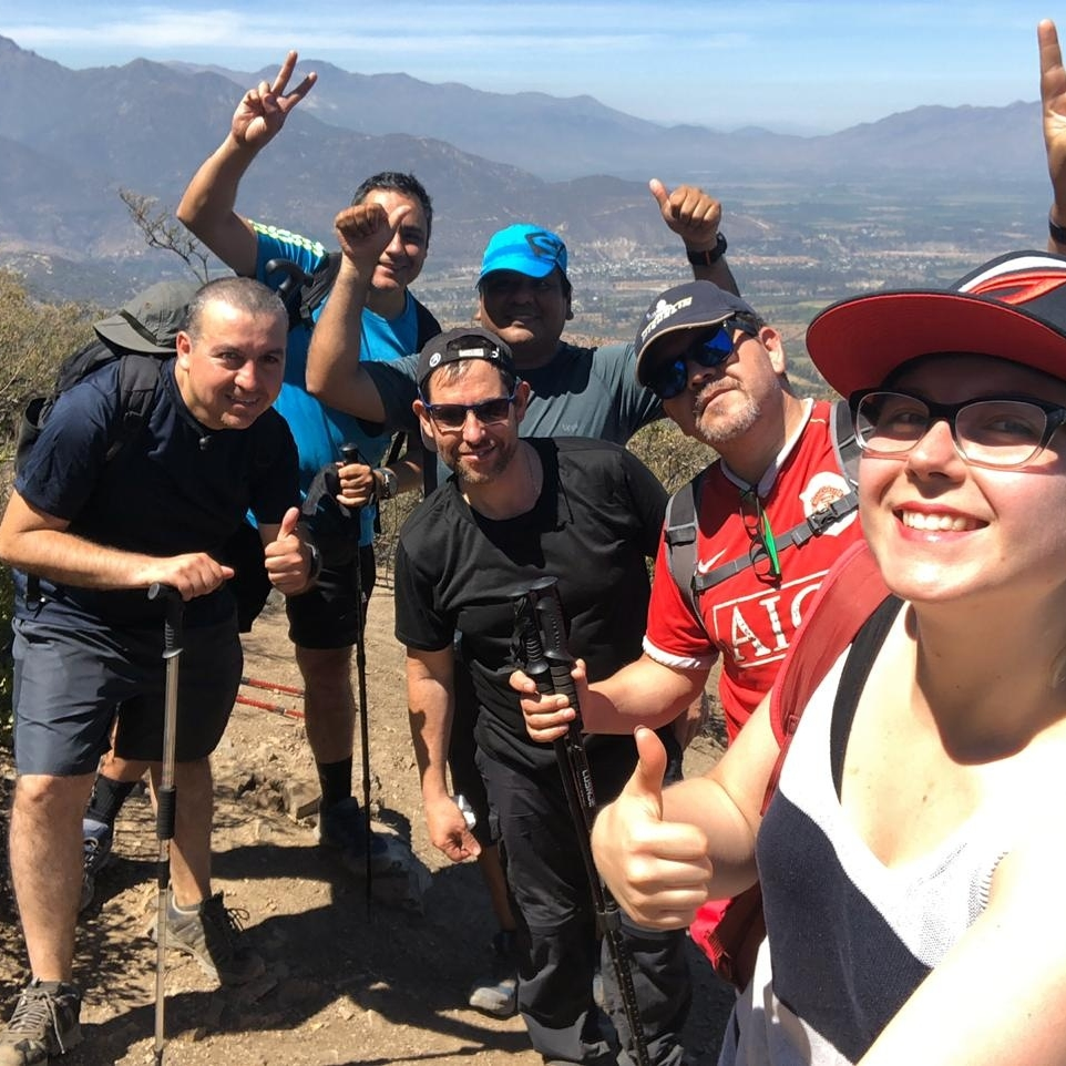 Vera during a hiking trip with her students in Chile