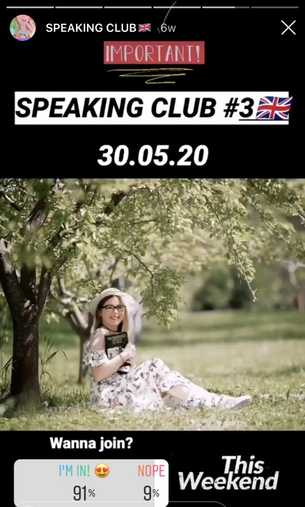 Vera's Speaking Club ad on her Instagram account.