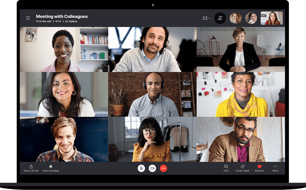 A group video call on Skype