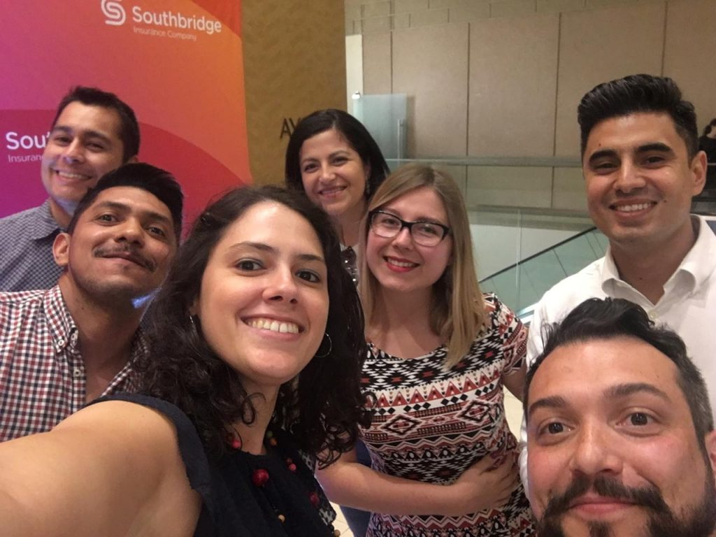 Digital nomad Vera with her business English students in Chile