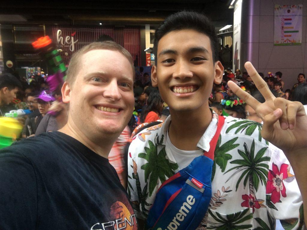 Brandon and his Thai student, Poom, during the Songkran Festival (Thai New Year) in Bangkok.