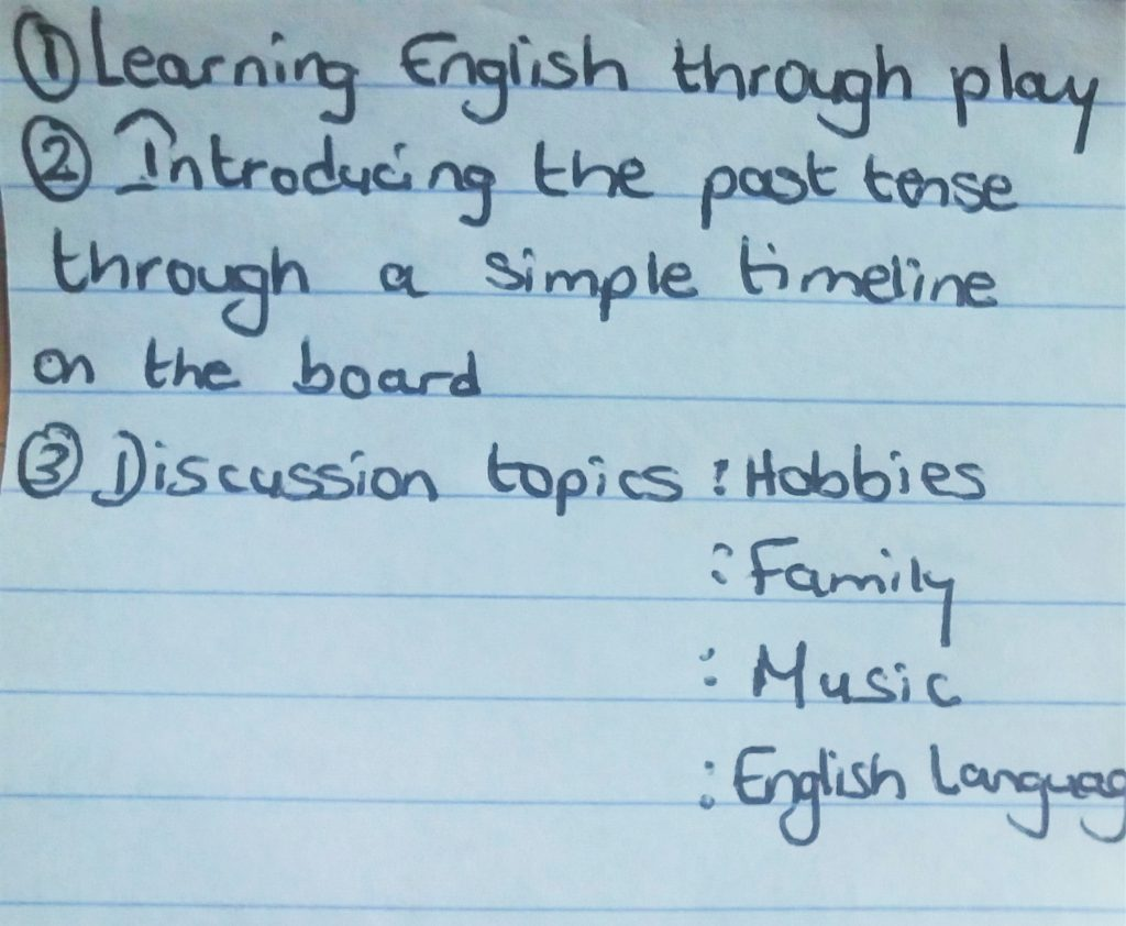 Shakti's notes for one of his online English classes