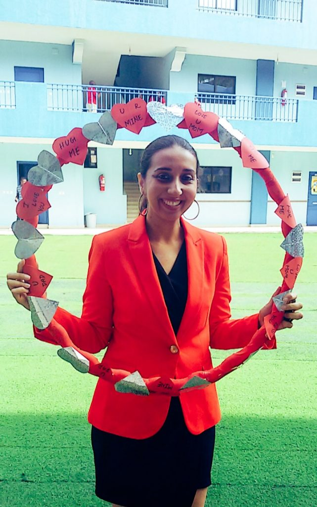 Piya during a Valentine's day event at her school