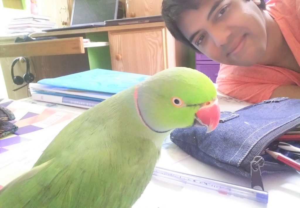 Shakti with his pet parrot