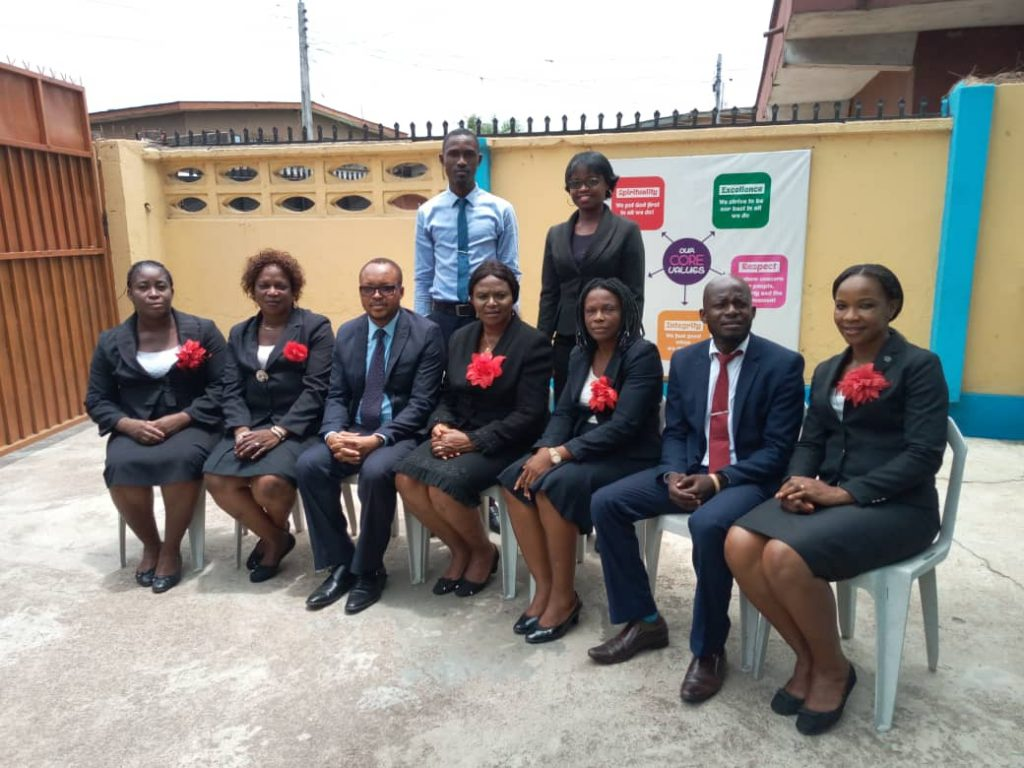 Uchechukwu (third left) with some teacher trainees.