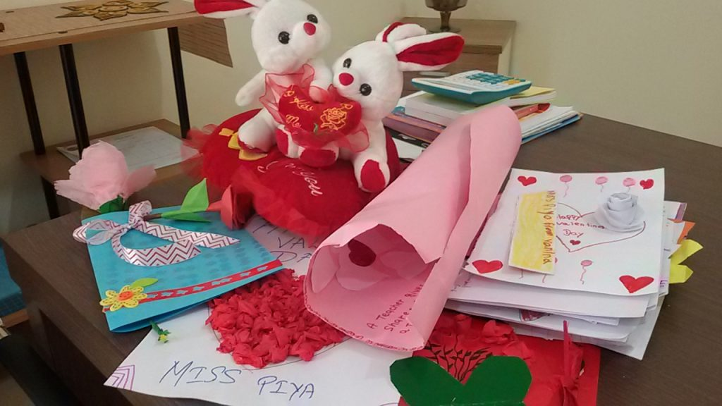 Personalized cards that students made for Piya for Valentine's day