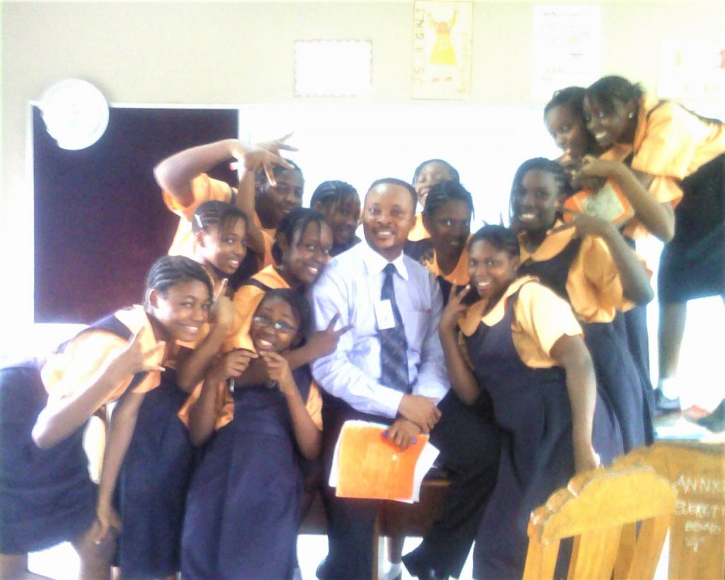 Uchechukwu with some of his students