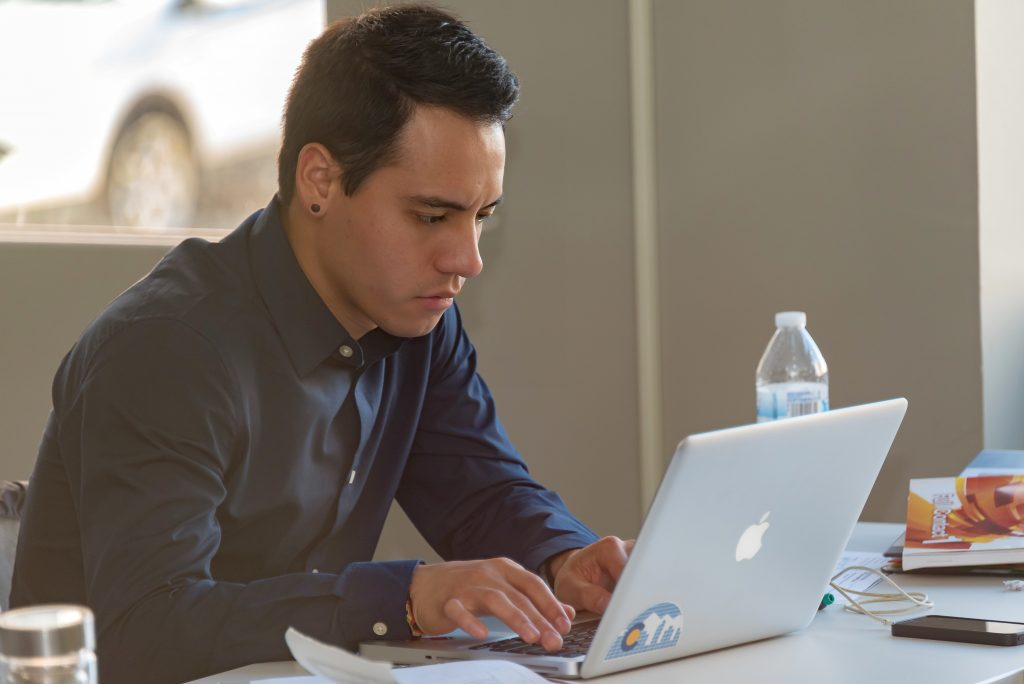 A teacher searching for TEFL jobs online.
