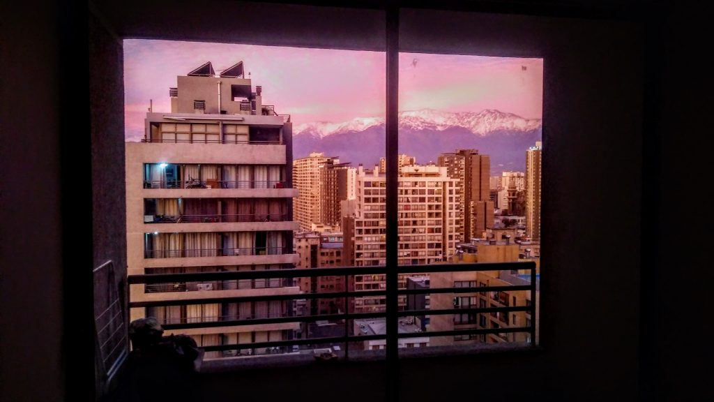 A view of the city from Vesela's apartment in Santiago
