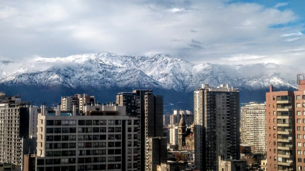 A view of the Andean mountain range from Santiago, Chile.
