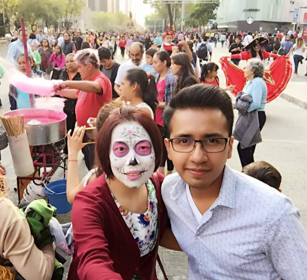 Andres during a Day of the Dead holiday celebration in Mexico before the pandemic.