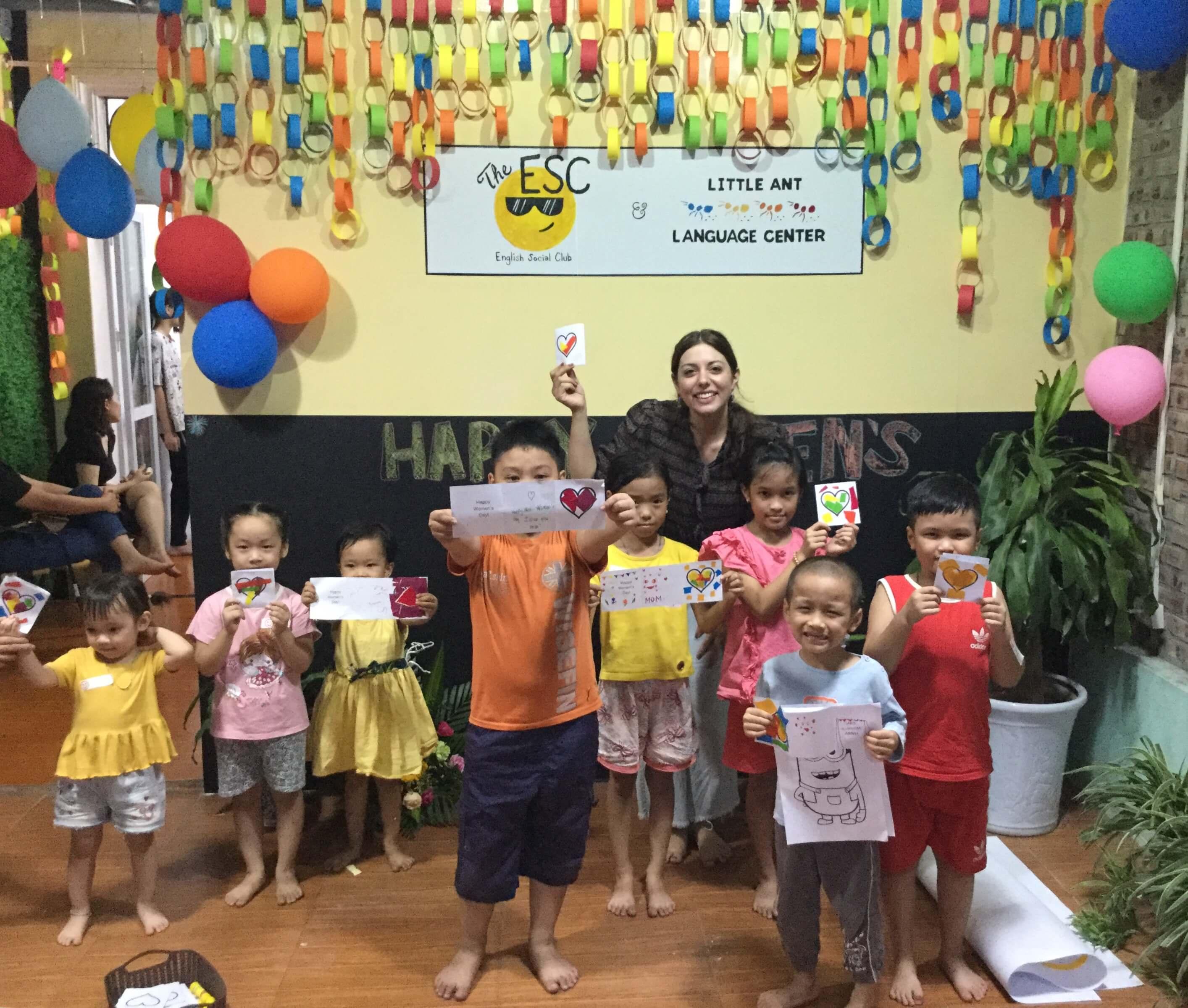 Bridge grad Chelsea Olivias at an English center in Hanoi, Vietnam