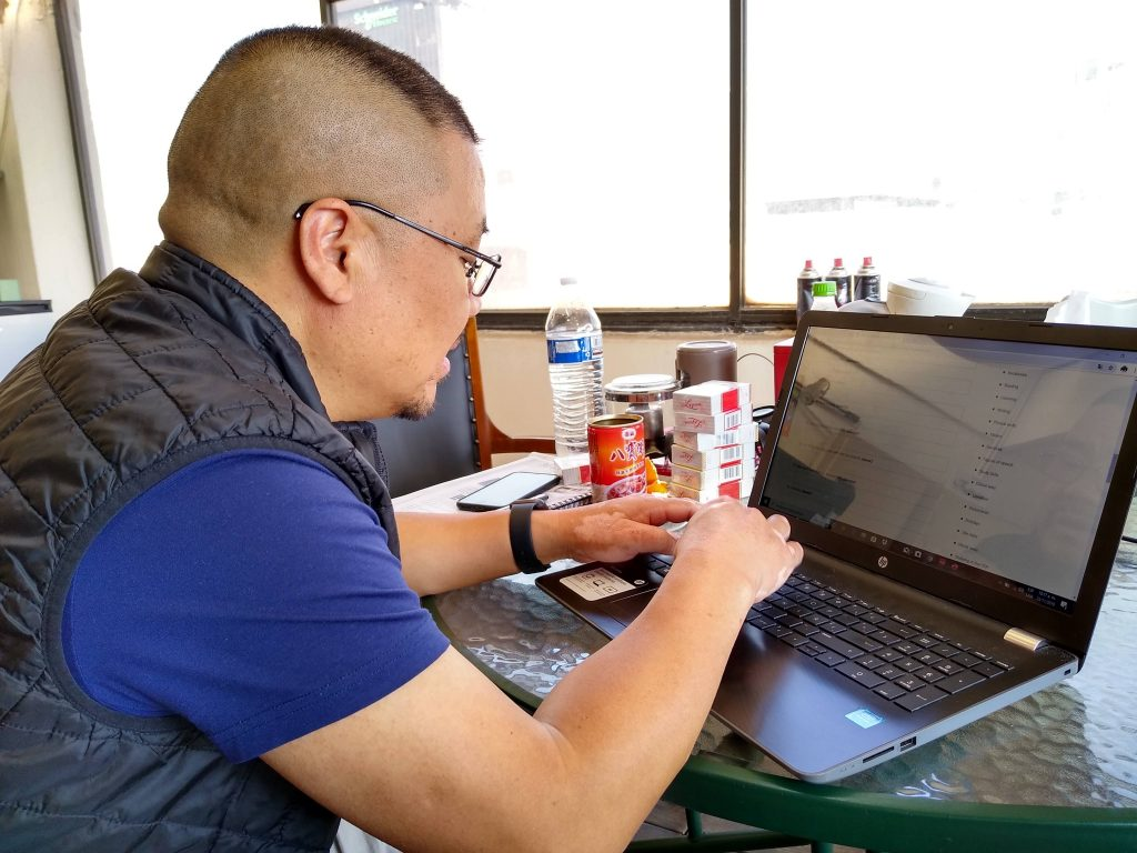 One of Andres´ Chinese students studying English online.