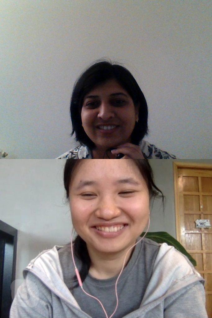 Suchismita with her online English learner