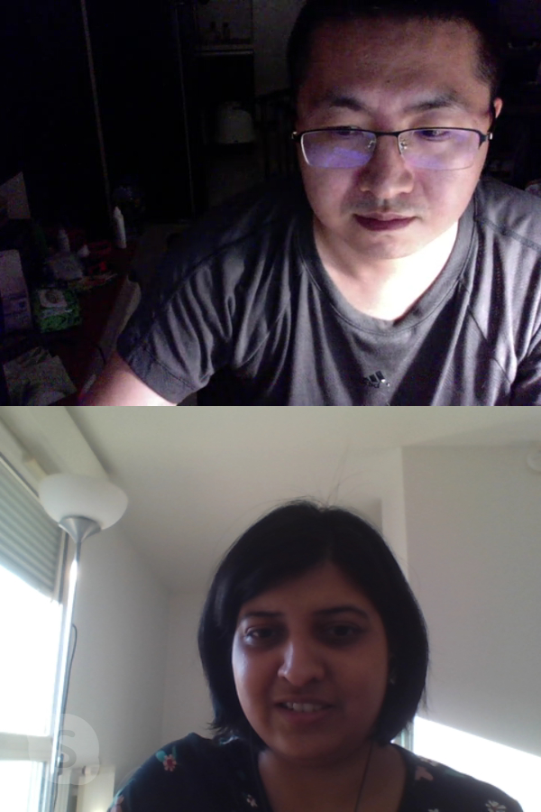 Suchismita with another learner in an online ESL class
