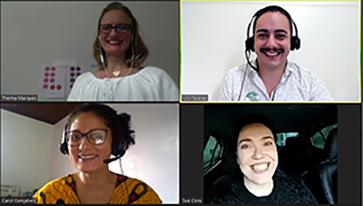 The board of BRAZ-TESOL's Pronunciation Special Interest Group on a video call.