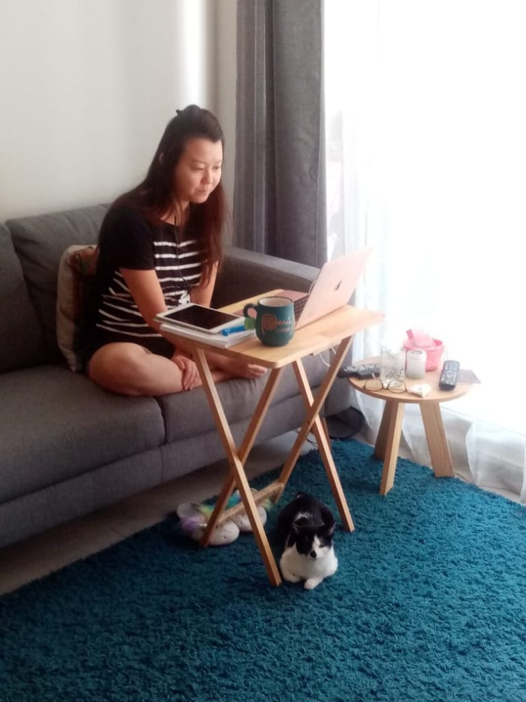 Elaine teaching English online from home