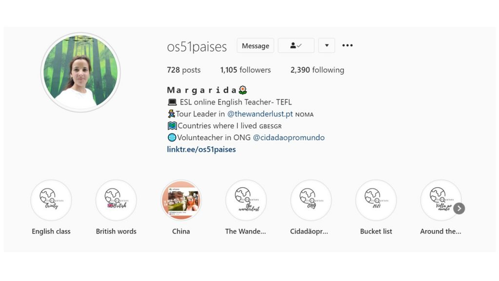 Margarida's Instagram account, where she shares her adventures around the world and gives English tips.