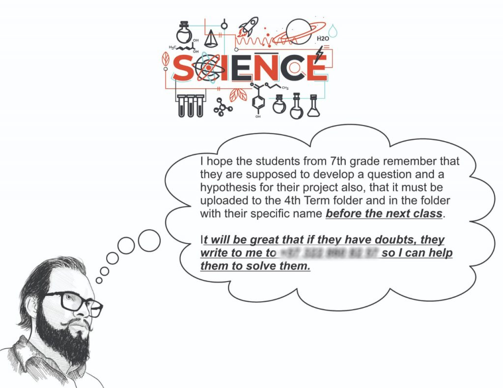 Science task instructions that Luis made for his students.