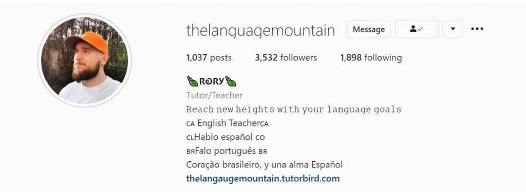 The Instagram page of Rory's online English school