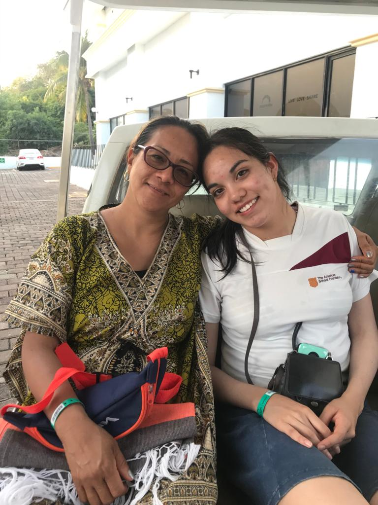 Gabriela (left) with one of her students