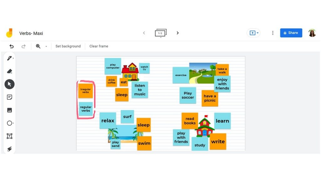 Online English teacher Krzl's Jamboard with a student
