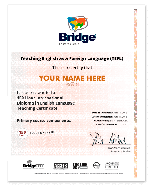 idelt online tesol/tefl course - accredited certification
