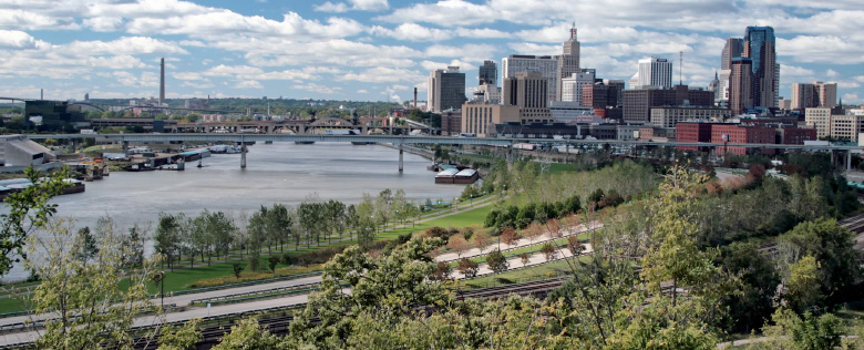 Beautiful Saint Paul Minnesota, on the banks of the Mississippi River